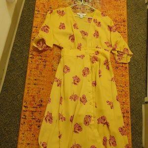 Yellow Floral Dress Kimono Small